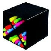 Deflect-O Stackable X-Shaped Cube Organiser With 4 Compartment Divider - Black