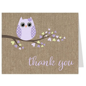 Owl Baby Shower, Thank You Cards, Burlap, Rustic, Cottage Chic, 50 Folding Notes with Envelopes, Free Shipping