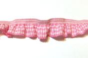 2 Yards - 1 Side Trim - Light Pink Gingham Elastic Trim - Size 20 Mm