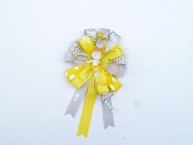 Modern Mommy Baby Shower Theme Corsage for Mom (Mod Theme -Round Grey and Yellow)