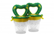 Best 2 Pack Baby Teether Soother Unique Baby & Toddler Food Pacifier Feeder For Eating Fresh Fruit -n- Veggies and Meat Safe & Choke Free. Storage Container & Silicone Nipple.