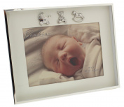 Charming and Simplistic Silver and Ivory Newborn Baby 18cm x 13cm Photo Frame by Haysom Interiors