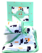 Organic Bamboo Hooded Baby Bath Towel & Washcloth Gift Set, Hypoallergenic and Softer Than Cotton