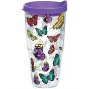 Tervis Tumbler Butterflies 710ml Wrap with Purple Travel Lid by Tervis