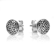 925 Oxidised Sterling Silver Tiny Circle Celtic Knot 8 mm Post Stud Earrings