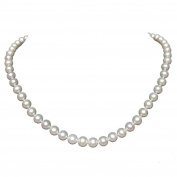 "16"" Inch Choker AAAA Genuine Round 7-7.5mm White Strand Pearl Necklace Sterling Silver Rose Clasp Cultured Freshwater"