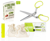 Chefast Herb Scissors Set - Premium Kitchen Shears with 5 Stainless Steel Blades - Multipurpose Herb Bags, Safety Cover with Cleaning Comb, Herbs Ebook and . Box Included