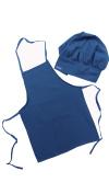 Chefskin Baby Blue Adult Chef Set (Apron+hat) Adjustable, Ultra Lite Fabric