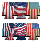 4th of July Patriotic American Flag Koozie Set of 6 with 6 Different Flag Designs