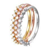 Tri Colour Gold Plated Sterling Silver Prong Set CZ Stackable Three Ring Set