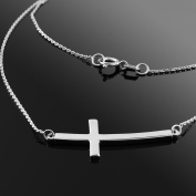 925 Sterling Silver Curved Sideways Cross Necklace with Rolo Chain