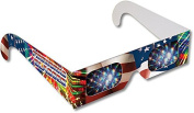 Rainbow Symphony Diffraction Fireworks Glasses - American Flag # 2 Design, Package of 100