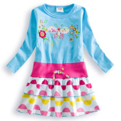 Girls 100% Cotton Blue Long Sleeved Butterfly Embroidery Dress - 18-24 Months