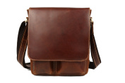 Tiding Men's Classic Genuine Real Leather Messenger Crossbody Shoulder Casual Satchel Bag Brown