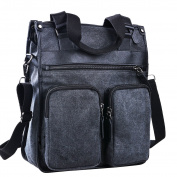 L.S.Risunup Men's Vintage Canvas Leather Laptop Messenger Bag Shoulder Briefcase Handbag Tote 009 Charcoal