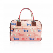 SALE Sausage Dog 'Cath Kidston' Designer Style Matte Canvas Overnight Weekend Bag