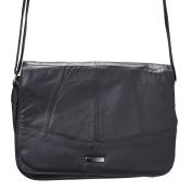 Womens / Ladies Soft Leather Triple Zipped Cross Body Bag