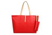 Drasawee Large Women Commuter Belt Buckle Shoulder Bag PU Leather Colourful Fashion Shopping Handbags Red