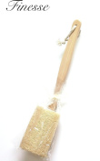 Finesse Natural Loofah with Wooden Handle for Exfoliating Skin