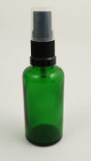 GREEN Glass Bottles 30ml with BLACK Atomiser Spray - PACK OF 3