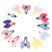 Pack of 12 Mixed Bowtie Kids Child Hair Snap Clips Hair Grip Barrettes Headwear