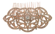 Pick A Gem Bridal Wedding Prom Vintage Art Deco Gatsby Style Rose Gold Crystal Diamante Hair Slide Comb