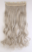 S-noilite® UK Women 24 Inches (60cm) Ash Blonde to Silver Grey One Piece Long Curly Wavy 3/4 Full Head Clip In Hair Extensions Extension