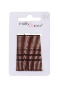 20pc Standard 4.5cm Kirby Grips Hair Bobby Pins Clips Brown