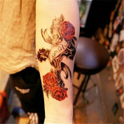 LZC 15x21cm Temporary tattoo Shoulder Arm Stickers waterproof Fashion Party Body Art Man Woman Multi Coloured Black - Vintage Rose