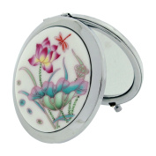 The Olivia Collection 7cm White Flower Design Cermaic Silvertone Compact Travel Mirror SC1320