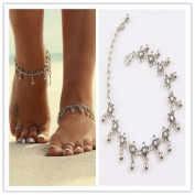 Silver Tassel Drop Bohemian Anklet Boho Ankle Bracelet