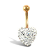 Ladies 9ct Yellow Gold White Round Crystal Love Heart Banana Belly Bar, 10mm