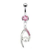 Wishbone Belly Button Ring Pearl Crystal 14 Gauge 316L Stainless steel Piercing
