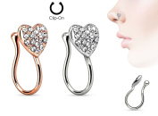 2 Styles Star fake nose piercing clip rings Rose Gold Plated/Rhodium plated