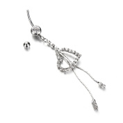 Bling Stars Dangle Belly Button Ring 316L Surgical Steel 14g Heart Dangle Navel Belly Ring Body Jewellery