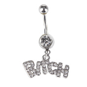 Belly Button Ring Best Bitches 316L Surgical Steel 14g Dangle Navel Ring