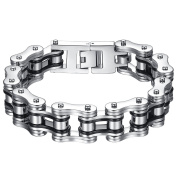 Men's Stainless Steel Black and Silver-Tone Bicycle Chain Large Heavy Biker Bracelet, 22.3cm, ccb022