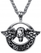 Aoiy Men's Stainless Steel Gothic Larger and Heavy Wing Skull Biker Pendant Necklace, 61cm Chain, ccp023