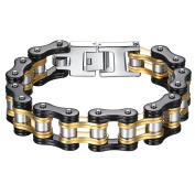 Men's Stainless Steel Black and Gold-Tone Bicycle Chain Large and Heavy Biker Bracelet 22.3cm, ccb021