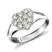 9ct White Childs Clear Stone Heart Ring