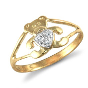 9ct Yellow Gold Childs Clear Stone Teddy Ring