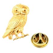 Golden Wise Owl of Athena Lapel Pin Badge