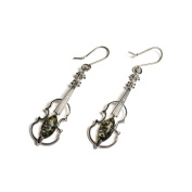 Classic Baltic Green Amber and Silver Small Violin Earrings