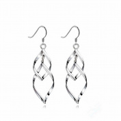 TININNA 925 Sterling Silver Earring Double Marquise Loops Design Earring Drops Hook Earrings Pendant Earrings for Women Ladies