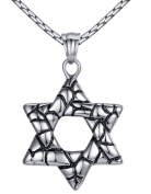 Aoiy Men's Stainless Steel Star of David Pendant Necklace, 58cm Link Chain, hhp021yi