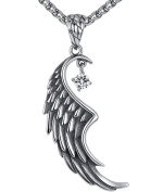 Men's Stainless Steel Angel Wing Pendant Necklace, Clear Crystal, 61cm Link Chain, hhp025bi