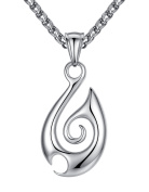 Stainless Steel Tribal Fire Pendant Necklace, Unisex, 61cm Link Chain, aap129