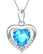 Women Blue Heart. Crystal Elements Necklace 925 Sterling Silver Pendant Chain 45cm