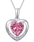 Women Pink Heart. Crystal Elements Necklace 925 Sterling Silver Pendant Chain 45cm