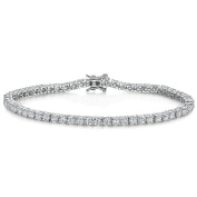 "JOOLS by Jenny Brown ® Silver Bracelet ""Tennis "" Style Featuring 3mm Brilliant Cut Cubic Zirconia Stones and A Snapclasp"